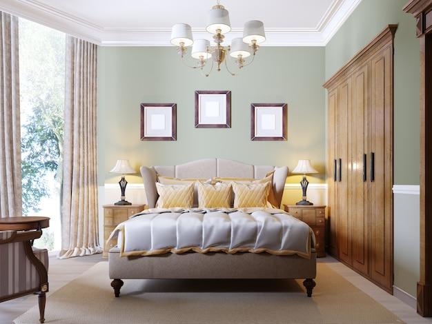 Klassisches modernes schlafzimmer mit olivenwänden, großem fenster und holzmöbeln. 3d-rendering
