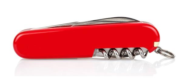 Klassisches rotes klappmesser der schweizer tasche auf weiß
