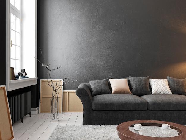 Klassisches skandinavisches schwarzes interieur mit sofatischfensterteppich d render abbildung mock-up