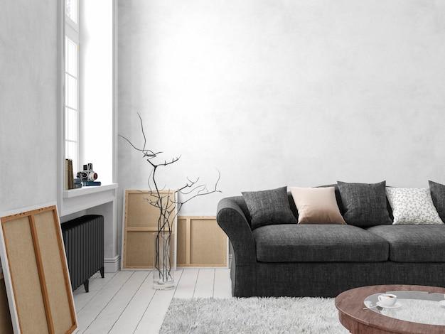 Klassisches skandinavisches weißes interieur mit sofa, tisch, fenster, teppich. 3d-render-illustrationsmodell.
