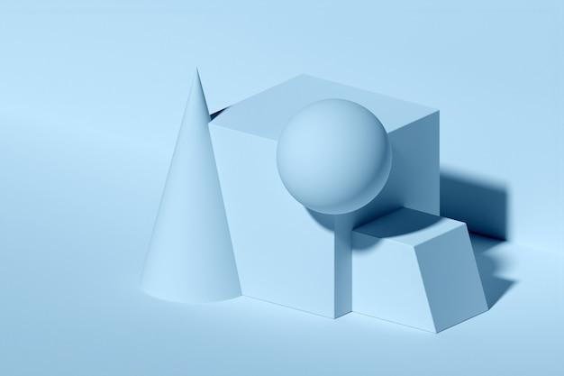 Klassisches stillleben der illustration 3d mit geometrischen schwarzweiss-formen mit schatten: parallelepiped, würfel, kegel, kugel