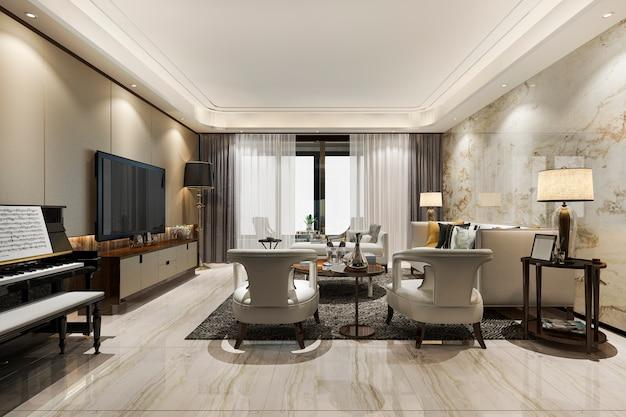 Klassisches warmes wohnzimmer der 3d-wiedergabe mit klavier und sessel