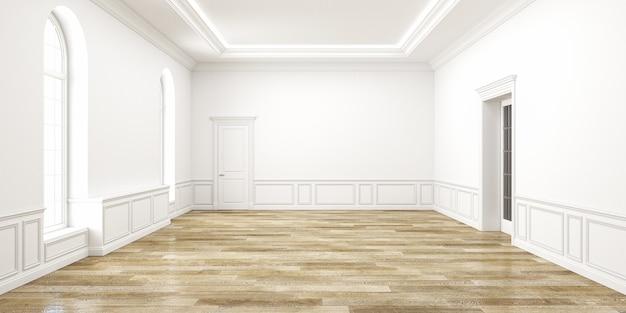 Klassisches weißes leerrauminterieur. 3d-renderillustration.