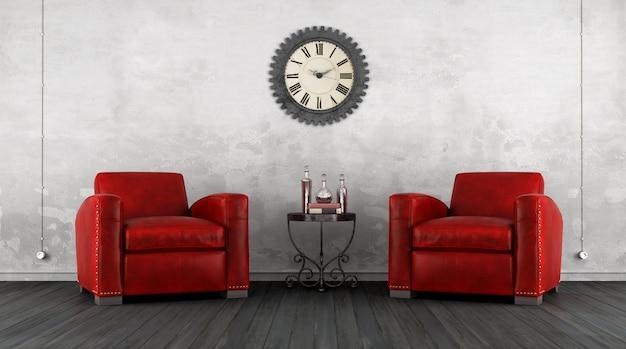 Klassisches wohnzimmer mit zwei ledersesseln