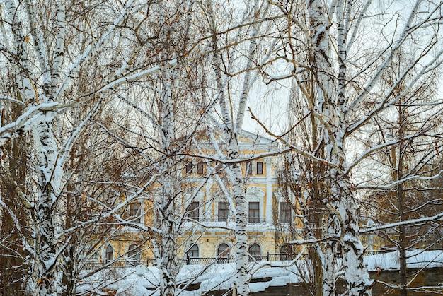Klassizistisches gebäude hinter dem winterbirkenhain über der alten steinüberführung