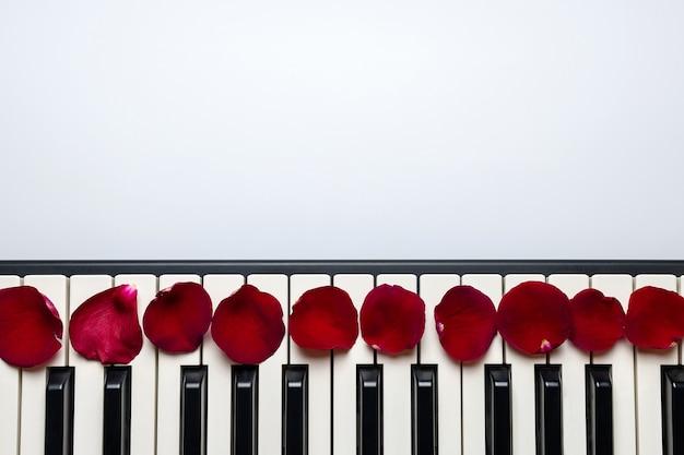Klavierschlüssel mit den roten rosafarbenen blumenblumenblättern, lokalisiert, draufsicht, kopienraum.