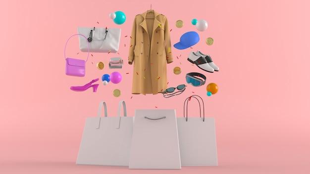 Kleider, hosen, sweatshirts, hüte, geldbörsen, high heels und sonnenbrillen unter bunten kugeln auf rosa
