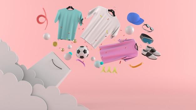 Kleider, hosen, sweatshirts, hüte, geldbörsen, hohe absätze und sonnenbrille unter bunten bällen auf einer rosa wiedergabe der wand 3d.