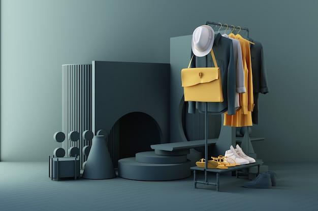 Kleiderbügel, umgeben von tasche und requisite mit geometrischer form auf dem boden in gelber und grüner farbe. 3d-rendering