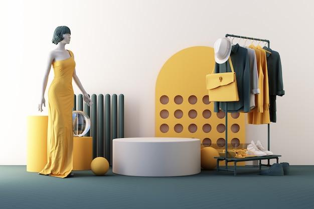 Kleiderpuppen ein kleiderbügel, umgeben von tasche und requisite mit geometrischer form auf dem boden in gelber und grüner farbe. 3d-rendering