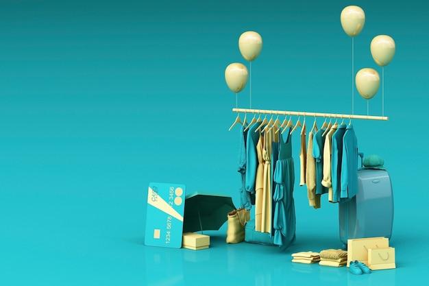 Kleidung auf einem kleiderbügel, umgeben von tasche und marktstütze mit kreditkarte auf dem boden. 3d-rendering