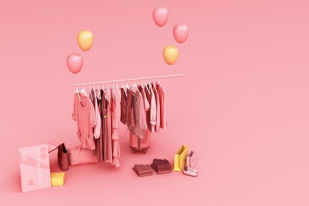 Kleidung auf einem kleiderbügel, umgeben von tasche und marktstütze mit kreditkarte auf dem boden 3d rendering