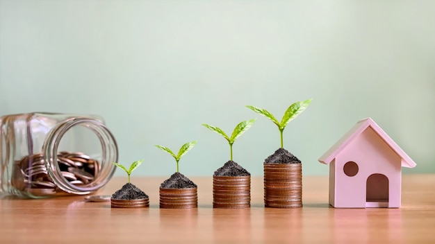 Kleine bäume wachsen auf münzhaufen und hausmodelle, die immobilieninvestitionen und hypotheken simulieren