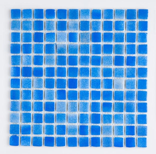 Kleine blaue keramikfliese, draufsicht, majolika. für den katalog