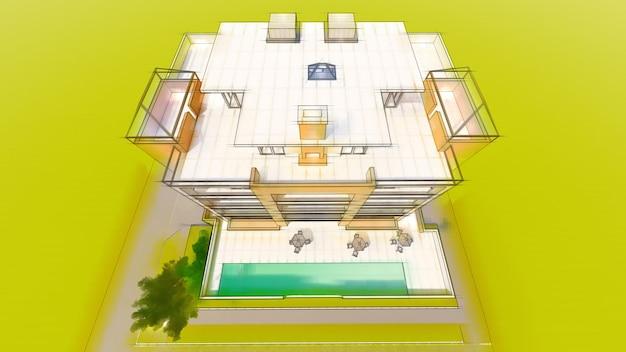 Kleine funktionale eigentumswohnung mit eigener umzäunter garage und swimmingpool
