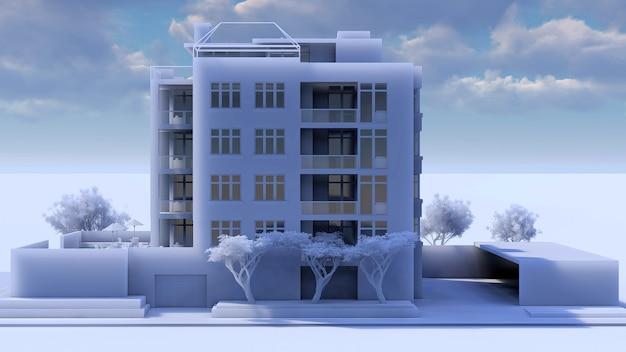 Kleine funktionale wohnanlage mit eigenem geschlossenen bereich, garage und swimmingpool