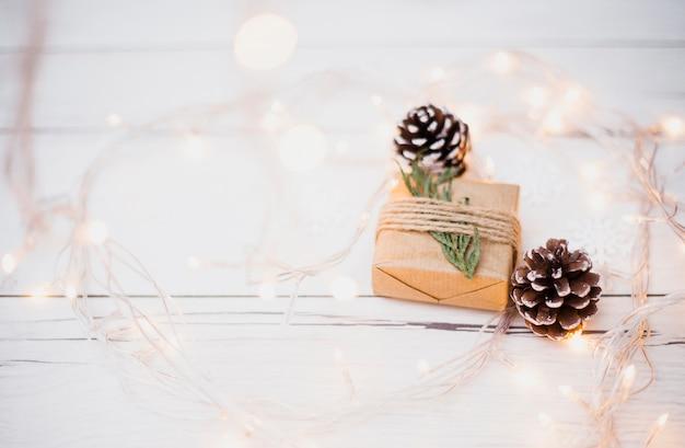 Kleine geschenkverpackung in der nähe von baumwollern und beleuchteten lichterketten