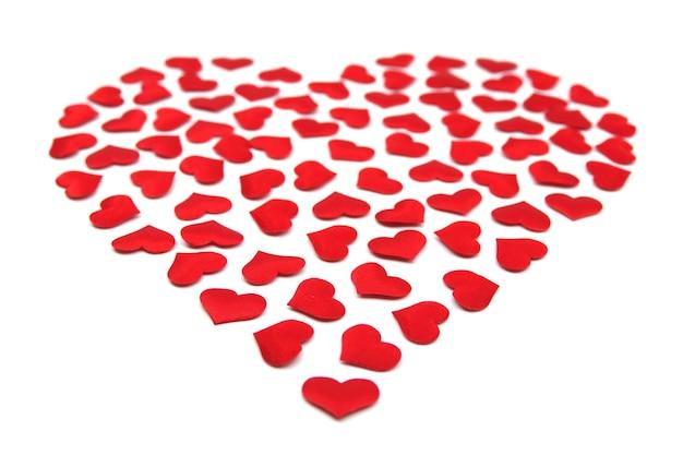 Kleine herzen in der großen herzform valentinstagkonzept valentinskarte mit roten herzen schöner aufkleber
