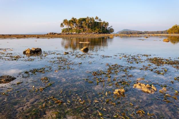 Kleine insel im tropischen meeressonnenuntergang oder in der sonnenaufgangzeit bei ebbe.