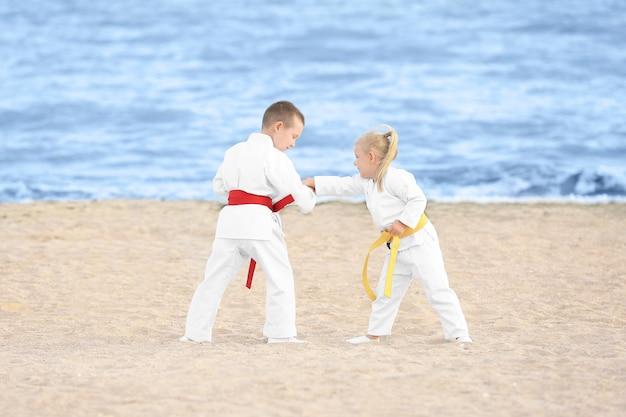 Kleine kinder, die draußen karate üben
