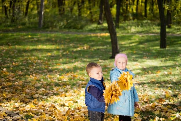 Kleine kinder mit bündeln von bunten gelben herbstblättern, die in bewaldeter landschaft stehen
