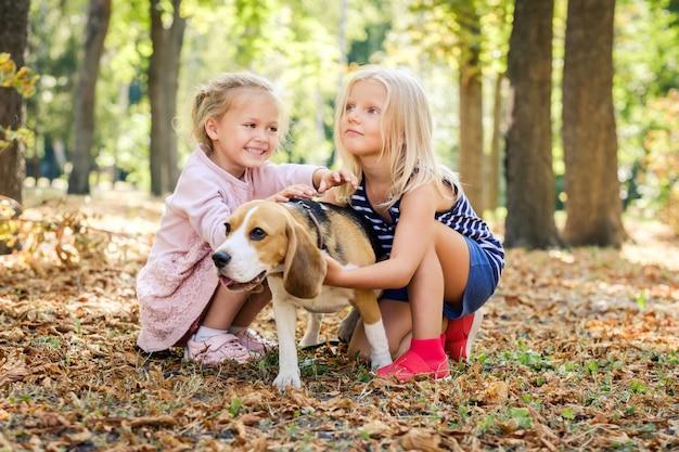 Kleine lächelnde blonde mädchen sitzen umarmenden beagle-hund
