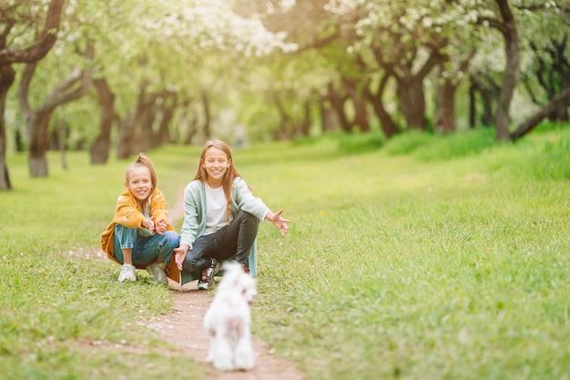 Kleine lächelnde mädchen, die welpen im park spielen und umarmen