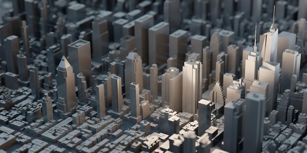 Kleine modellstadt new york city spielzeug stadtlandschaft von gebäuden wolkenkratzer luftbild 3d-darstellung