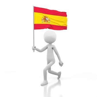 Kleine person, die mit spanien-flagge in einer hand geht. 3d-rendering-bild