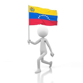 Kleine person, die mit venezuela-flagge in einer hand geht. 3d-rendering-bild