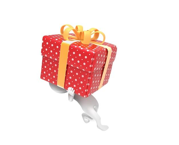 Kleine person trägt ein sehr hartes box-geschenk auf weiß