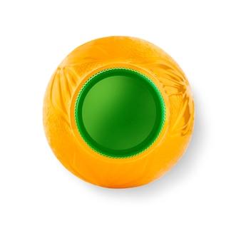 Kleine saftplastikflasche, draufsicht. beschneidungspfad