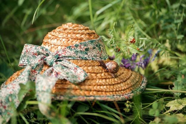 Kleine schnecke sitzt auf einem strohhut, der zwischen dem grünen gras gelassen wird. sommer