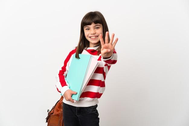 Kleine studentin isoliert auf weißem hintergrund glücklich und zählt vier mit den fingern