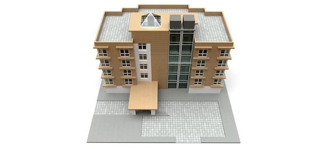 Kleine weiß-beige eigentumswohnung mit aufzug und garage. 3d-rendering.