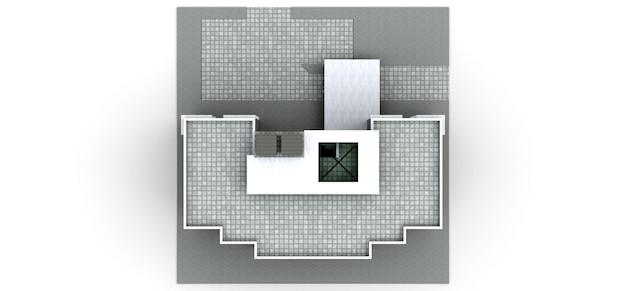 Kleine weiß-graue eigentumswohnung mit aufzug und garage. 3d-rendering.