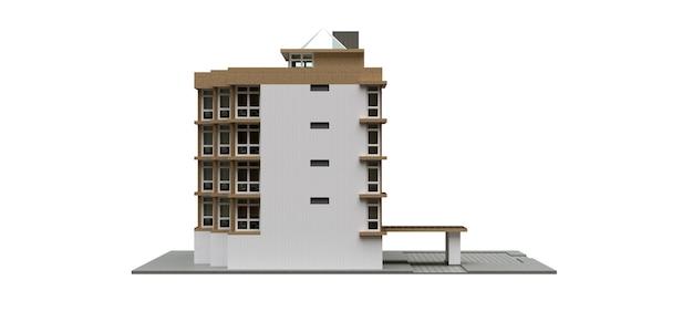 Kleine weiße und beige eigentumswohnung mit aufzug und garage. 3d-rendering.
