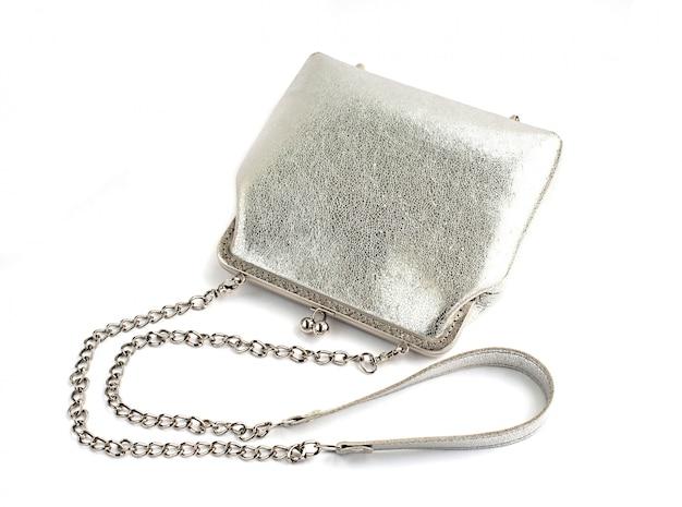 Kleine womens ledertasche silberfarbe