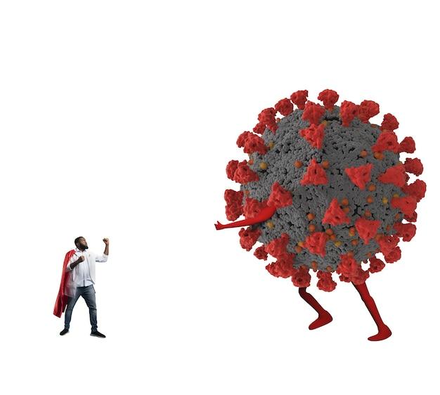 Kleiner arzt mit umhang fordert einen großen virus heraus