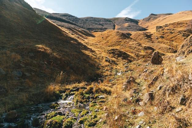 Kleiner bach auf den bergen erstreckt sich in europäischer landschaft.