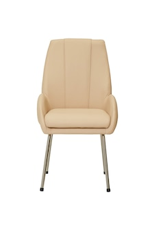 Kleiner beige lederstuhl im strengen stil isoliert auf weißem hintergrund, vorderansicht. moderne möbel im minimalistischen stil, innen-, wohn- oder bürodesign