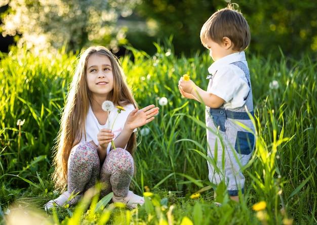 Kleiner bruder und schwester in heller sommerkleidung. spaß und lustiges spielen mit flauschigen weißen und gelben löwenzahn