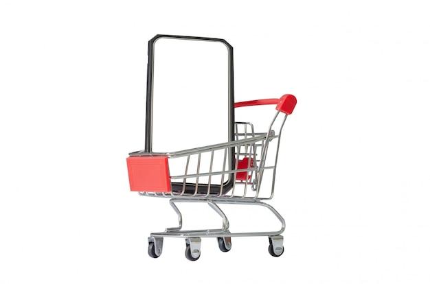 Kleiner einkaufswagen und smartphone