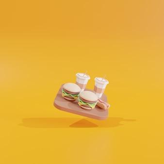 Kleiner fast-food-hamburger und hot dog auf gelbem hintergrund 3d-symbole restaurant 3d-illustration