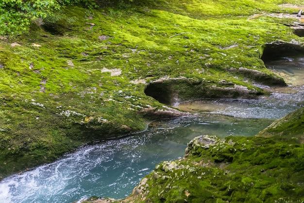 Kleiner gebirgsfluss, der durch den grünen wald im steinbett fließt. schneller fluss über mit moos bedecktem felsen