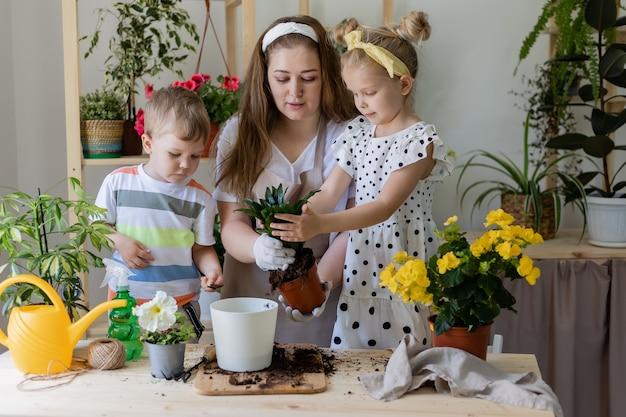 Kleiner helfer bei der hausarbeit konzept des frühlingsgartens fürsorgliche zimmerpflanzen lebensstil