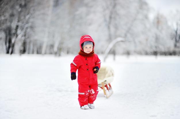 Kleiner junge, der eine pferdeschlittenfahrt genießt. kinderrodeln. kleinkindkind, das einen schlitten reitet. kinder spielen draußen im schnee. kinderschlitten im winterpark. outdoor-aktivspaß für den familienurlaub.