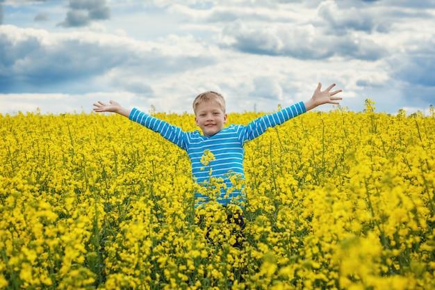 Kleiner junge, der für freude auf einer wiese an einem sonnigen tag springt