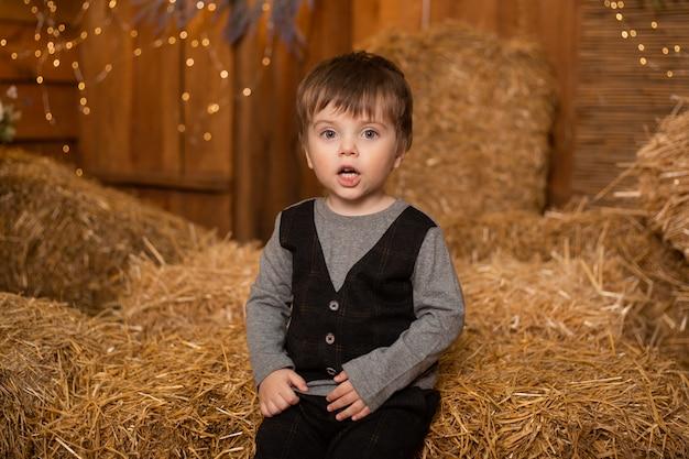 Kleiner junge, der in strohgarben in bauernhof, landschaft, landwirtschaft sitzt