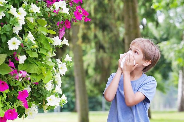 Kleiner junge, der seine nase nahe baum in der blüte putzt